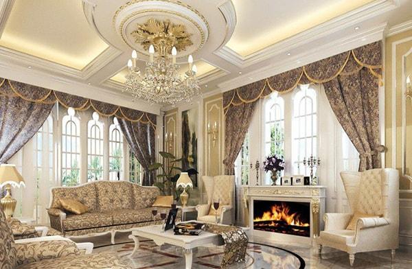 Trần thạch cao cổ điển phòng khách