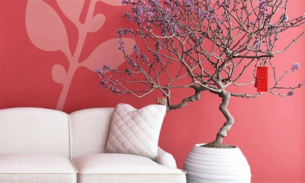 Màu sắc mang không khí Tết cho thiết kế phòng khách nhỏ
