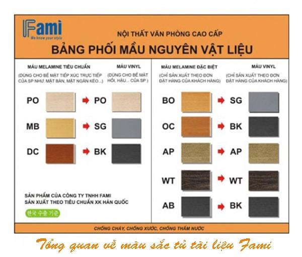 Bảng màu gỗ của Fami