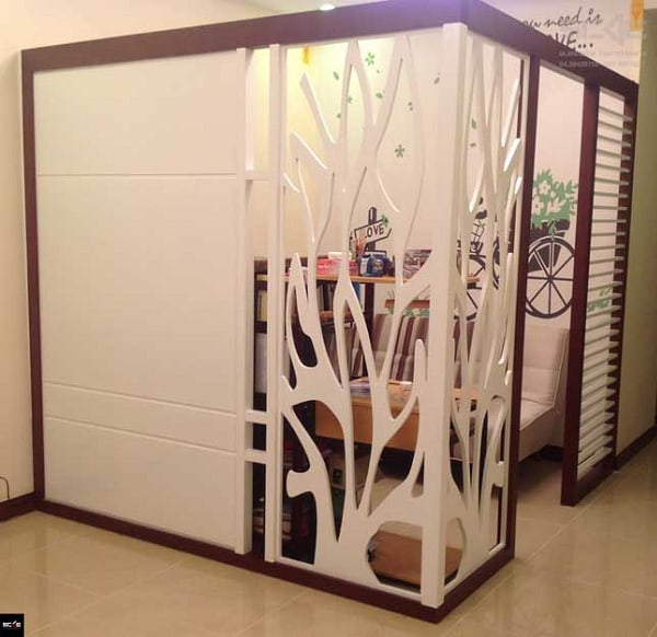 Vách ngăn gỗ như tâm bình phòng phân chia các căn phòng