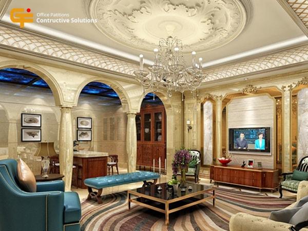 Sự kết hợp tài tình của nội thất, thảm trải sàn, các họa tiết trên trần nhà