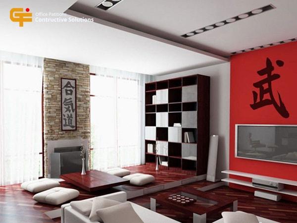 Mẫu trần thạch cao phòng khách đẹptheo phong cách Nhật Bản