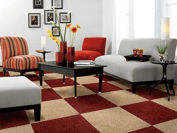 Thảm trải sàn hiện nay được khá nhiều gia đình sử dụng trong phòng khách