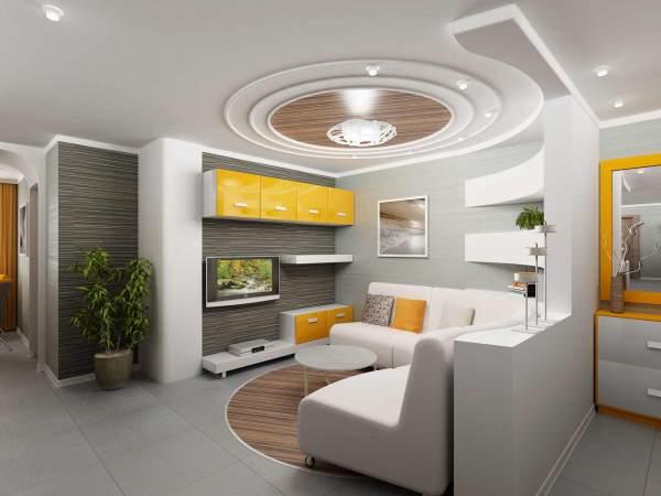 Mẫu phòng khách trần thạch cao hình tròn kết hợp với đèn âm trần