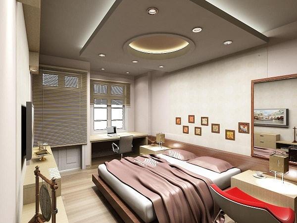 Mẫu trần thạch cao cho phòng ngủ hiện đại với hệ thống đèn hắt