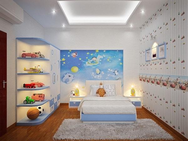 Mẫu trần thạch cao phòng ngủ đơn giản dành cho bé