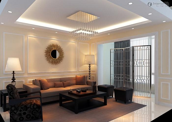 Phòng khách trở nên sắc nét và độc đáo nhờ trần thạch cao giật cấp vuông