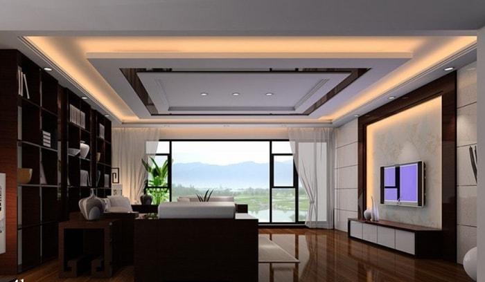 Ấn tượng với trần thạch cao khối chữ nhật cho phòng khách