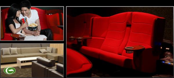 Chất liệu ghế đôi bằng mút đúc lanh cao cấp cho bạn cảm giác thoải mái nhất khi xem phim hàng giờ