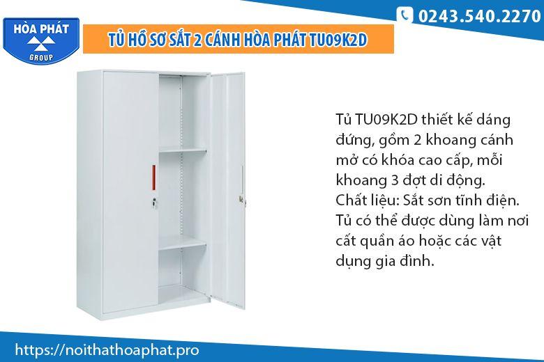 Tủ sắt đựng hồ sơ 2 cánh TU09K2D