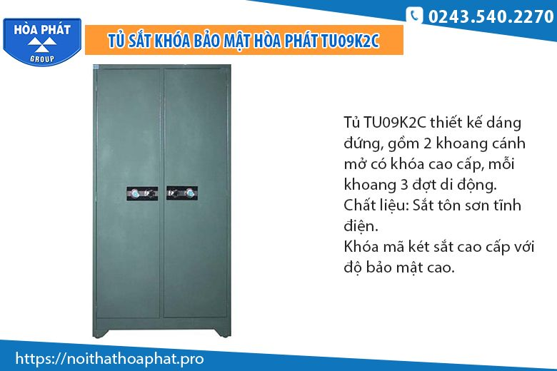 Tủ sắt 2 cánh khóa bảo mật TU09K2C