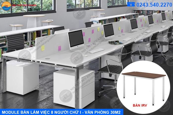 Bố trí bàn làm việc 8 người ngồi văn phòng 30m2 hình chữ I