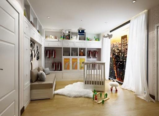 Căn phòng với màu sáng trắng sang trọng