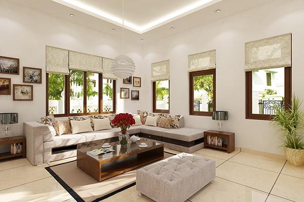Hoa hồng cực xinh xắn trong thiết kế phòng khách