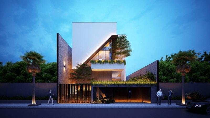 Mẫu thiết kế render của biệt thự hiện đại với diện tích 180m2