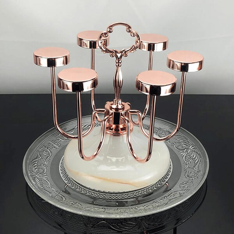 Giá úp ly màu hồng ánh kim cho phòng khách kiểu cổ kim kết hợp