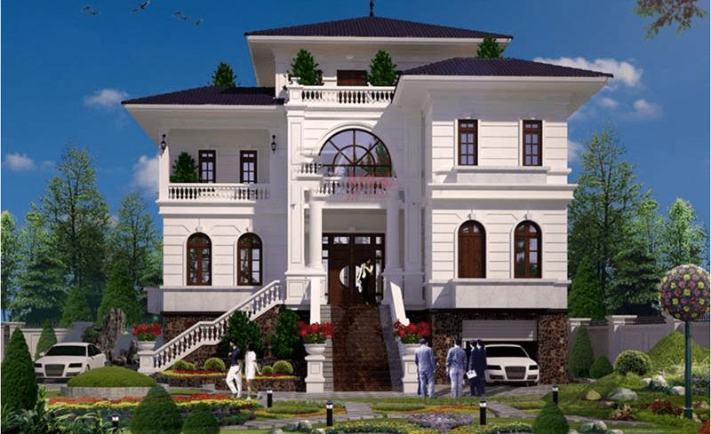 Mẫu thiết kế nhà biệt thự có chỗ để xe sang trọng