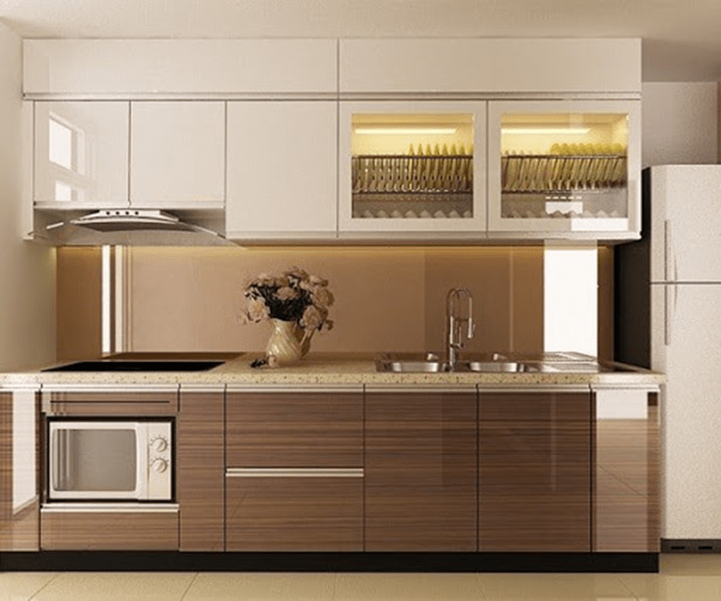 Tủ bếp gỗ công nghiệp mang tới sự hiện đại cho không gian